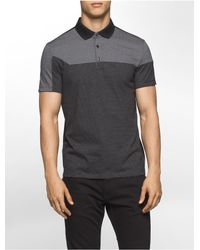Calvin Klein | Black Slim Fit Liquid Cotton Striped Polo Shirt for Men | Lyst