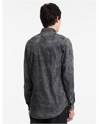 Calvin Klein - Gray Jeans Slim Fit Bleached Denim Shirt for Men - Lyst