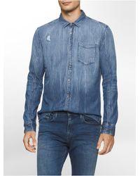 Calvin Klein | Blue Jeans Slim Fit Faded Rip Repair Shirt for Men | Lyst