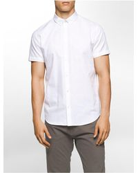 Calvin Klein | White Slim Fit Dobby Plaid Short Sleeve Shirt for Men | Lyst