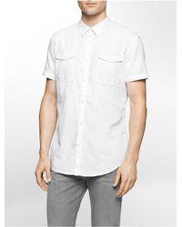 Calvin Klein | White Jeans Slim Fit Herringbone Utility Short Sleeve Shirt for Men | Lyst