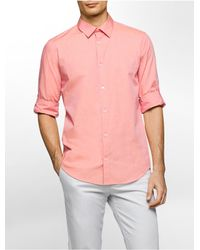 Calvin Klein | Pink Slim Fit End-on-end Solid Roll-up Shirt for Men | Lyst