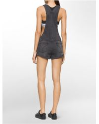 CALVIN KLEIN 205W39NYC - Gray Jeans Denim Overall Shorts - Lyst
