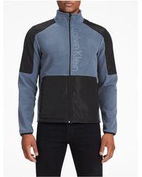 Calvin Klein - Gray Fleece Logo Jacket for Men - Lyst