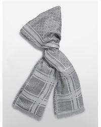Calvin Klein | Gray Allover Lurex Grid Blanket Scarf | Lyst