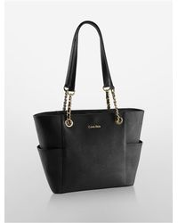 Calvin Klein | Black Saffiano Leather Chain-trimmed Tote Bag | Lyst