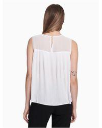 Calvin Klein White Pleated Illusion Sleeveless Top