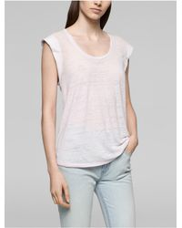 Calvin Klein | Pink Jeans Faded Rolled Sleeve Top | Lyst