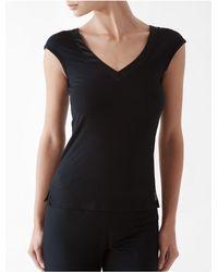 Calvin Klein | Black Underwear Essentials Satin Trim Cap Sleeve Top | Lyst