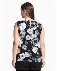 Calvin Klein Black Plus Size Floral Curved Hardware Sleeveless Top