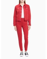 CALVIN KLEIN 205W39NYC - Skinny Fit High Rise Tango Red Ankle Jeans - Lyst