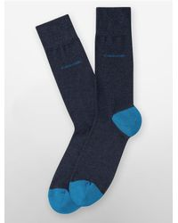 Calvin Klein   Blue Underwear Combed Cotton Colorblock Socks for Men   Lyst