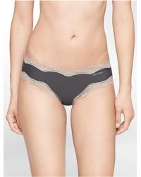 Calvin Klein - Gray Underwear Cheeky Hipster With Lace - Lyst