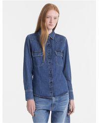 c35c264e721 Lyst - Calvin Klein Western Denim Shirt in Blue