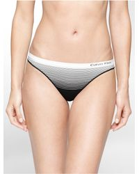 CALVIN KLEIN 205W39NYC - Black Underwear Seamless Illusions Stripe Print Thong - Lyst