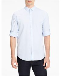 Calvin Klein | Blue Classic Fit Seersucker Chambray Shirt for Men | Lyst