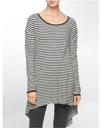 Calvin Klein - White Performance Stripe High Low Side Tunic - Lyst