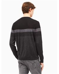 CALVIN KLEIN 205W39NYC - Black Merino Wool Colorblock Stripe Sweater for Men - Lyst