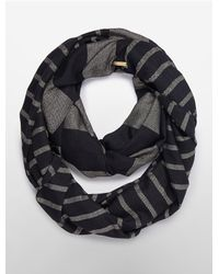 Calvin Klein - Black White Label Metallic Stripe Infinity Scarf - Lyst