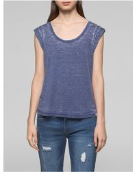 Calvin Klein - Blue Jeans Faded Rolled Sleeve Top - Lyst