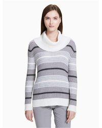 Calvin Klein - Gray Mixed Stripe Cowl Neck Top - Lyst