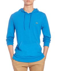 Lacoste - Blue Cotton Pullover Hoodie for Men - Lyst