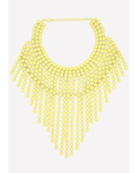 Bebe | Yellow Neon Fringe Necklace | Lyst