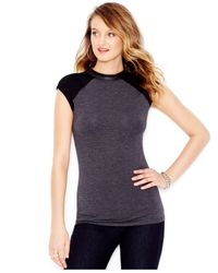 Guess | Gray Faux-leather-trim Mock Turtleneck Top | Lyst