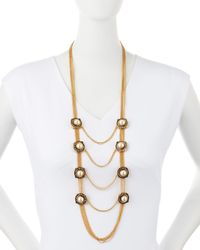 Alexander McQueen | Metallic Military Pearly & Crystal Chain Necklace | Lyst