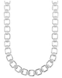 Jones New York | Metallic Silver-tone Square Link Necklace | Lyst