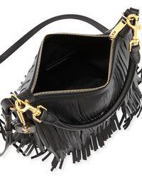 Saint Laurent - Black Emmanuelle Small Leather Fringe Hobo Bag - Lyst