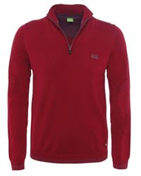 BOSS Green | Red Funnel Neck Zime Jumper for Men | Lyst