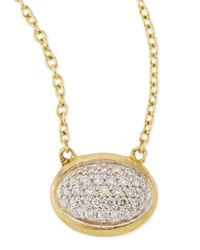 Jude Frances | Metallic Oval Pave Diamond Pendant Necklace | Lyst