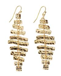 Panacea | Metallic Hammered Golden Linear Dangle Earrings | Lyst