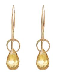 Melissa Joy Manning | Metallic Small Gold And Citrine Single Drop Earrings | Lyst