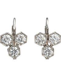 Cathy Waterman - White Cluster Drop Earrings - Lyst