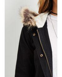 Forever 21 | Black Faux Fur-hooded Parka | Lyst