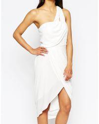 ASOS - White Asymmetric One Shoulder Drape Midi Dress - Lyst