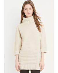Forever 21 | Brown Longline Turtleneck Sweater | Lyst