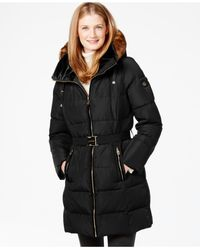Calvin Klein | Black Faux-fur-trim Belted Down Coat | Lyst