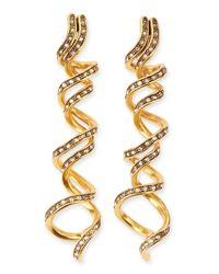 Oscar de la Renta | Metallic Pave Crystal Spiral Earrings | Lyst