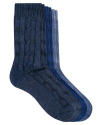 ASOS - Blue 3 Pack Cable Knit Boot Socks for Men - Lyst