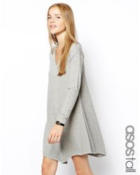 ASOS - Gray Knitted Swing Dress With V-Neck - Lyst