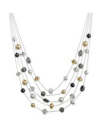Style & Co. - Silvertone Metallic Bead Multirow Illusion Necklace - Lyst