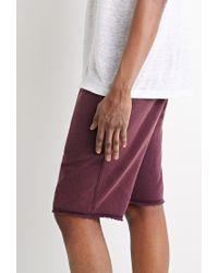 Forever 21 | Purple Frayed Drawstring Sweatshorts for Men | Lyst