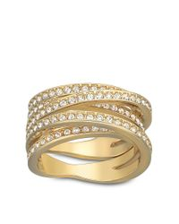Swarovski | Metallic Spiral Crystal And Goldtone Ring Size 9 | Lyst