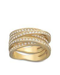 Swarovski - Metallic Spiral Crystal And Goldtone Ring Size 9 - Lyst