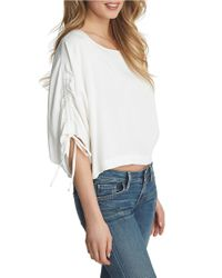 1.STATE | White Dolman-sleeve Drawstring Blouse | Lyst