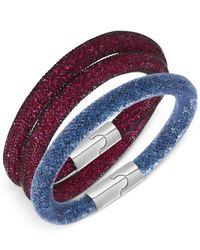 Swarovski | Multicolor Palladium-tone Stardust Fuchsia And Montana Bracelet Set | Lyst