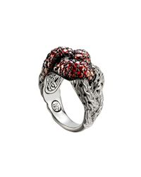 John Hardy - Metallic Classic Chain Silver Lava Large Braided Ring With Red Sapphire - Lyst